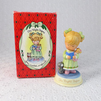 Joan Walsh Anglund Figurine, The Joy of Christmas, Vintage Collectible, The Night Before, with Box, Porcelain Girl Figure, Avon 1987