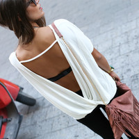 White Backless Loose T-Shirt