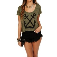 Olive Anchor Cut Out Top