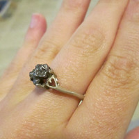 OOAK Vintage Engagement Ring Sterling Silver 925 Campo Del Cielo Meteorite Solitary Setting Size 8 Style = Hippy Natural