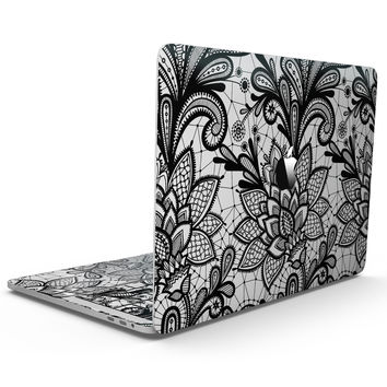 Black and White Geometric Floral - MacBook Pro with Touch Bar Skin Kit