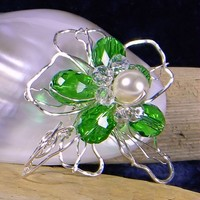 Silver Wire Sculpted Green and Clear Faceted Bead Pearl Flower Pendant | AmeliaOriginals - Jewelry on ArtFire