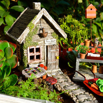"Miniature Garden Kit in 12"" Wooden Planter ~ Fairy Garden Kit ~ Potting Bench ~ Ladybug and Frog Table ~ Gift ~ 5 Faux Succulents Option"