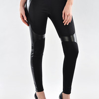 Leggings with leather detailing