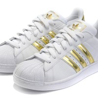 New Arrival Men's Adidas Originals SUPERSTAR 2.0 SHOES Metallic Gold/White
