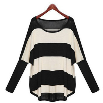 Women's Stripe Loose Knitted Pullover Sweater Jumper