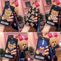 ONETOW Soft Cut Moschino Bear Phone Case Cover For Apple iPhone 6 6s 6/7/8plus iphone X