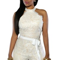 White Lace Nude Illusion Stylish Romper