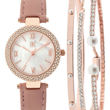INC International Concepts Women's May Blush Leather Strap Watch and Bangle Set 30mm, Created for Macy's - Watches - Jewelry & Watches - Macy's