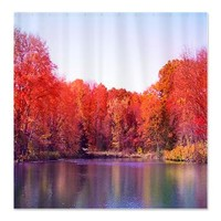 Autumn Pond with Rich Red Trees Shower Curtain> Autumn> Daphsam's Photography and Art