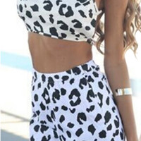 Leopard Print Cross Strap Two Piece Dress Set