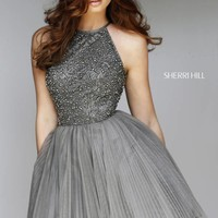 Sherri Hill 32335 Short Dress Halter Neck Beaded Bodice Pleated Skirt