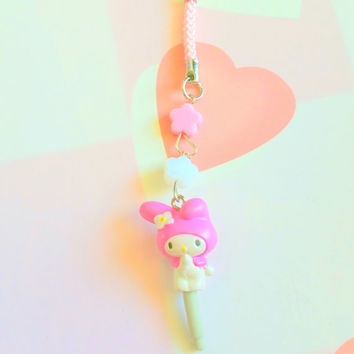 Anime my melody - bunny dust plug - kawaii phone charm with flower beads - cute accessory
