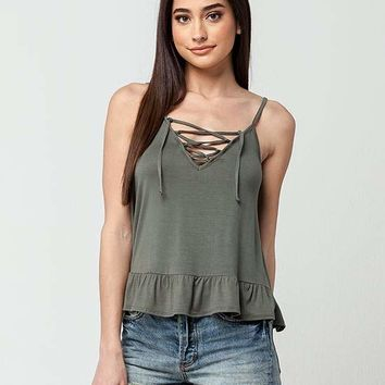 FULL TILT Lace Up Peplum Womens Tank | Tanks