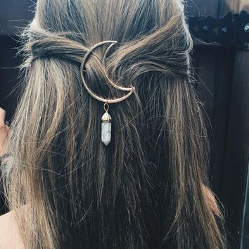 Quartz Moon Hairpin