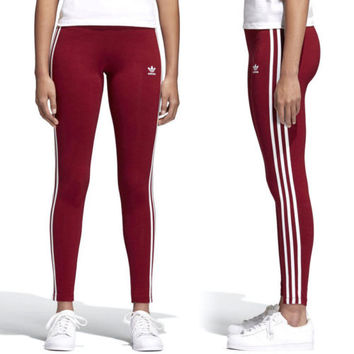 Adidas Originals 3 Stripe Burgundy Leggings