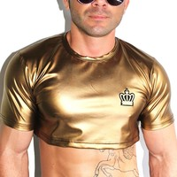 Royal Leather Extreme Crop Tee-Gold