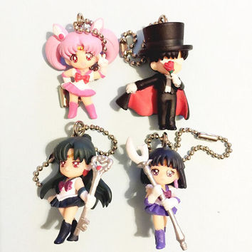 Official Chibimoon, Tuxedo Mask Sailor Saturn and Sailor Pluto swing charms