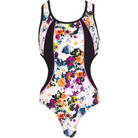 River Island Girls black floral cut out swimsuit