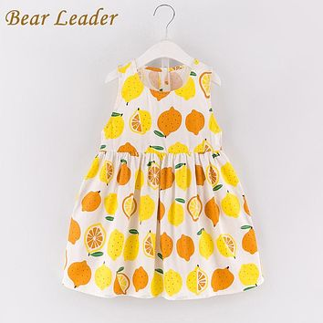New Princess Dress Sleeveless Fruit Pattern Printing Design for Kids Dresses