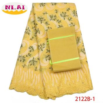 Dry Lace Fabrics High Quality Cotton Lace Fabric African Swiss Voile Lace Fabric With Aso Oke For Nigerian Party Dress NA2122B-1