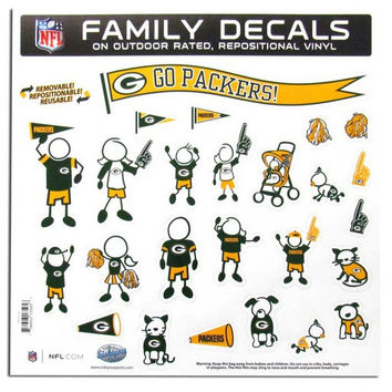 Green Bay Packers Decal 11x11 Family Sheet