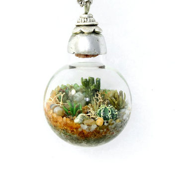 Handmade Terrarium Necklace, Nature Jewelry, Terrarium, Terranium, Desert Art, One of a Kind, Jewelry Necklaces Handmade