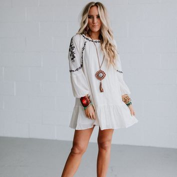 Hayden Embroidered Mini Dress - Cream