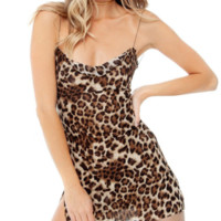 Women's autumn and winter new sexy leopard mesh gauze dress female