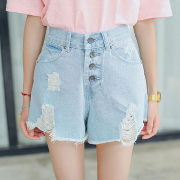 Retro Vintage High Waisted Jeans Button Shorts Trousers Pants