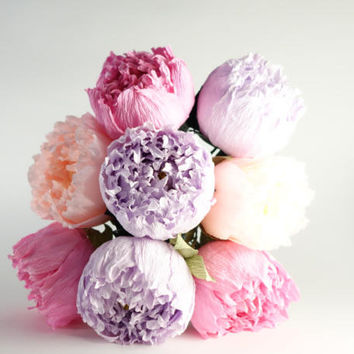 Crepe paper peony 3 pcs with stem, crepe paper flower, realistic paper flower, lilac bouquet, paper peonies, shabby chic flowers