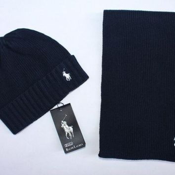 DCCKL72 x1love  POLO  Women Men Winter Knit Hat Cap Scarf Set Two-Piece