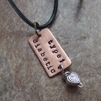 Medical Alert Necklace - Handstamped Copper  Silver Heart and Leather