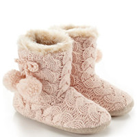 Lurex Cable Knit Boot Slippers | Pink | Accessorize