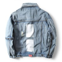 Indie Designs FourTwofour Inspired Zipper Sleeve Distressed Denim Jacket