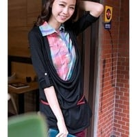 FREE SHIPPING Black Plaid Shirt Collar Shirt Two-Piece T-shirt HXA1631 from DressLoves
