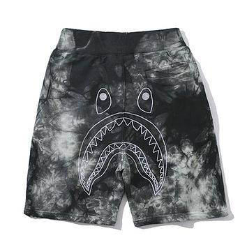 Bape street fashion shark camouflage men and women loose casual shorts black