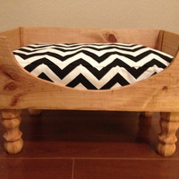 Upcycled Wine Crate Dog Bed Black And White Chevron