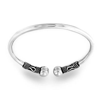 Bling Jewelry Bali Style Rope Style Oxidized Cuff Bangle Bracelet 925 Sterling Silver
