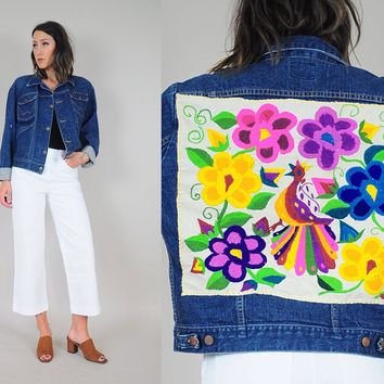 70's Wrangler Embroidered patch jean jacket