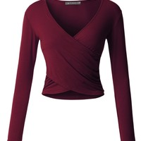 LE3NO Womens Fitted Wrap V Neck Long Sleeve Crop Top with Stretch