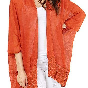 Ladies fashion lace accent outlined solid color kimono