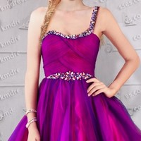 super cute sparkling sequin trim short one shoulder prom dress Purple Dresses