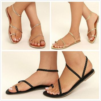 Summer Simple Women Rope Sandals Flat Casual Shoes