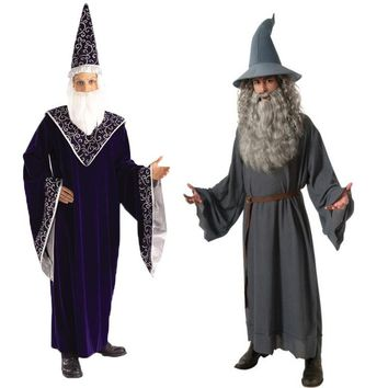 2017 New Adult Hobbit Lord Of The Rings Gandalf Cosplay Costume For Men Halloween Wizard Carnival Cosplay Costume