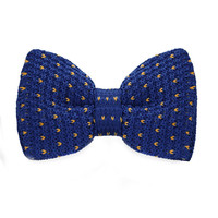 Men's Fashion Blue Knitting Adjustable Wool Bow tie For Wedding Party Business