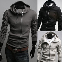 Double Zip Collar Turtleneck Mens Fashion Hoodie