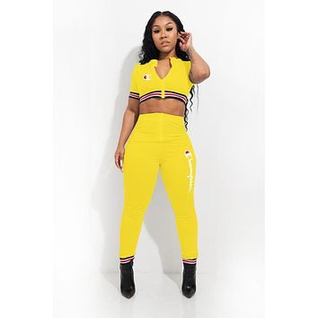 Champion Tide brand women's outdoor sports and leisure two-piece yellow