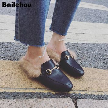 Women Fur Slippers Plush Home Slipper Slip On Mule Women Flat Casual Shoes British Buckle Loafer Women Outdoor Slipper Chaussure