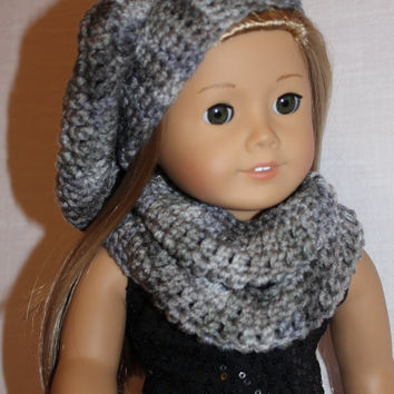 beret style crochet slouch hat with infinity scarf, grey mix,   18 inch doll clothes American girl Maplelea